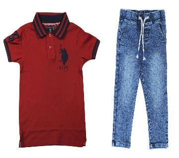US polo half sleeve cotton polo shirt and jeans for kids combo offer  -maroon