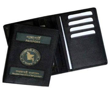 Genuine Black Leather Passport Cover
