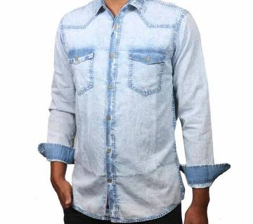 full sleeve denim acid wash shirt for men