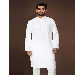 White Semi Long Panjabi For Men