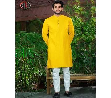 Yellow Semi Long Panjabi For Men
