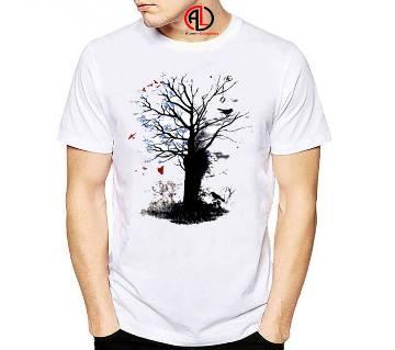 Tree Designed Half Sleeve Cotton T Shirt For Men
