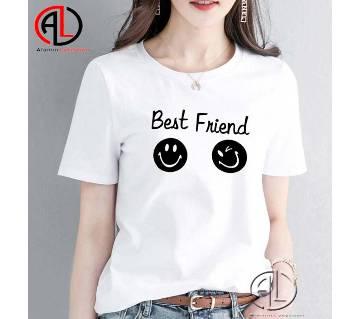 White Cotton Half Sleeve T-shirt For Women