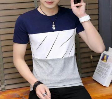 Navy white Gray Short Sleeve T-Shirt for men