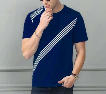 Cotton Short Sleeve T-Shirt for Men-blue