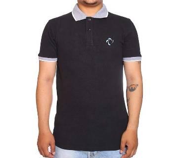 Black Short Sleeve Polo Shirt For Men