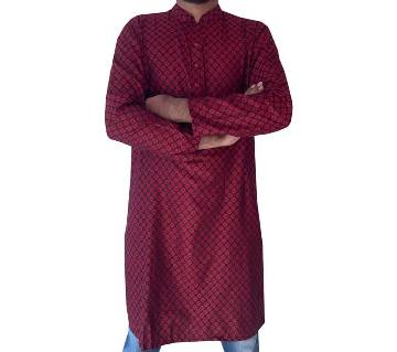 Semi long Cottonpunjabi for men -maroon