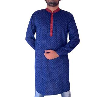 Semi long Cotton punjabi for men-blue