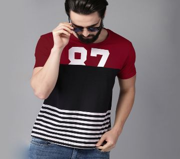 Multi Color Cotton Short Sleeve T-Shirt for Men-black and maroon