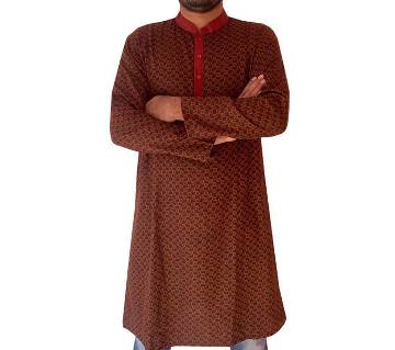 Mens Semi Long Panjabi-coffee