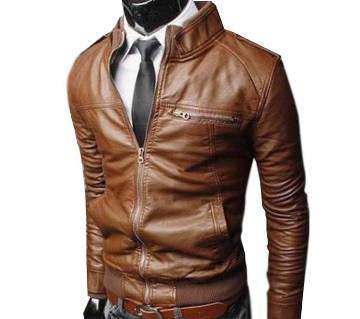 Motorcycle leather coat for men