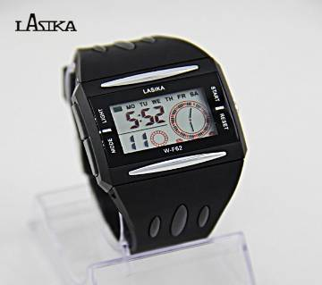 Lasika Digital Black Dial Waterproof Men