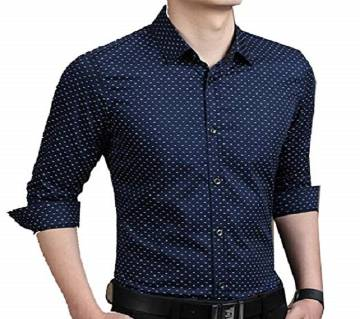 Navy Blue Long Sleeve Printed Shirt for Men