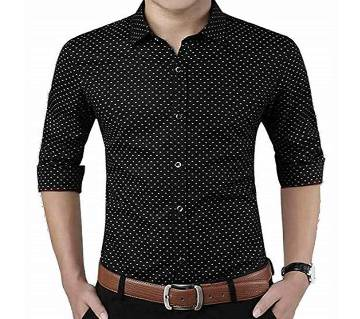Black Long Sleeve Printed Shirt for Men