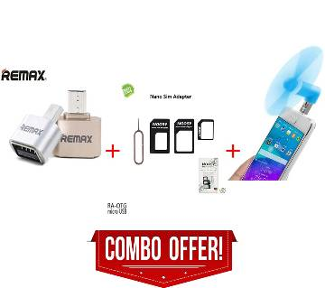 REMAX OTG + MINI USB OTG FAN + NANO SIM ADAPTER CONVERTER - MULTICOLOR