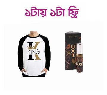 ফুল স্লিভ টিশার্ট ফর মেন+Al Nuaim কনসেনট্রেটেড পারফিউম (আঁতর) 6ml (India)(free)