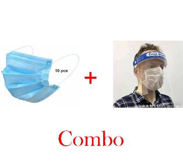 TRANSPARENT FACE EYES PROTECTOR SAFETY SHIELD + 10 pcs Face Mask Combo Offer