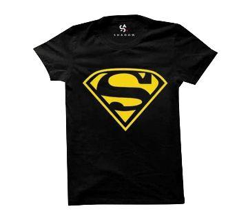 Super Man Yellow Half Sleeve Round Neck T Shirt For Men