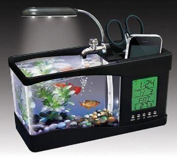 USB Desktop Aquarium and Digital Clock