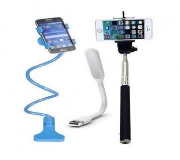 Long Mobile Stand + Selfie Stick + LED Light Multicolor