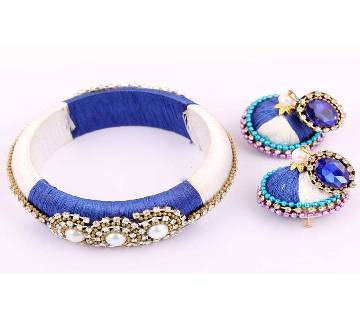Multi color silk thread bangles & earrings