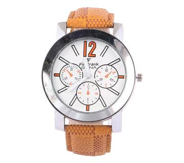 Analog Watch For Man (Golden_White_Leather F)