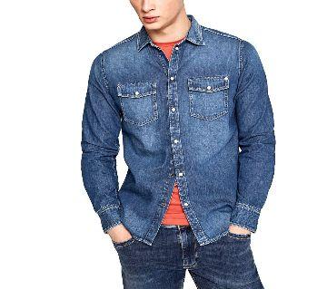 Denim Slim Fit Long Sleeve Shirt For Men