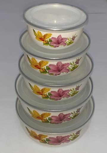 Enamel 5 piece containers set