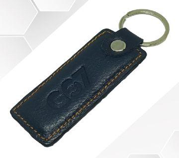 Dark Blue Leather Key Ring