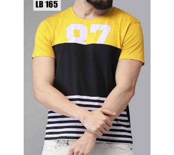 Half Sleeve Cotton T Shirt for Men-Black and Yellow