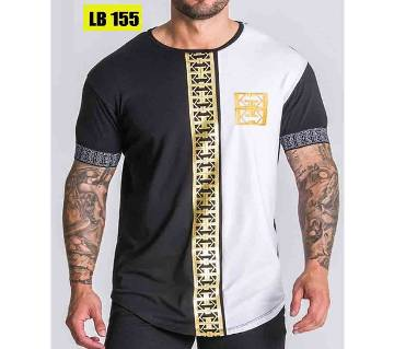 Half Sleeve Cotton T Shirt for Men-Black and White