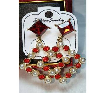 merun and pearl stone earings
