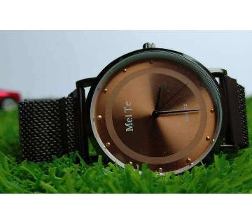 MeiTe Analogue Coffee Dial Multifunction Stainless Steel Men,s Womens Watch