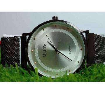 MeiTe Analogue White Dial Multifunction Stainless Steel Men,s Womens Watch
