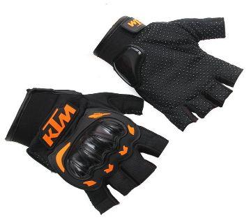 Motorcycle Gloves Orange Green Color Half