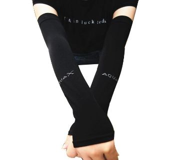 Korean Aqua-X UV Protection Cooling Arm Sleeves - Black