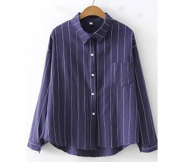 Long Sleeve Striped Korean Shirt for women