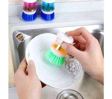 Plastic Kitchen Washing Dish Brush With Liquid Soap Dispenser