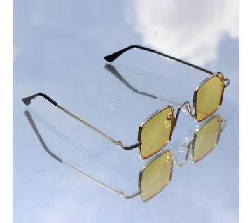 Yellow Small Square Metal Sunglasses For Men with Stylish Box