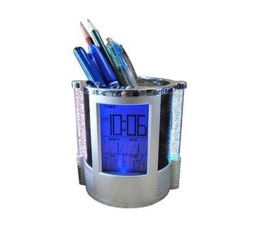 LED Digital Clock Pen Holder