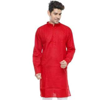 "Man""s Cotton Semi long Panjabi--Red"