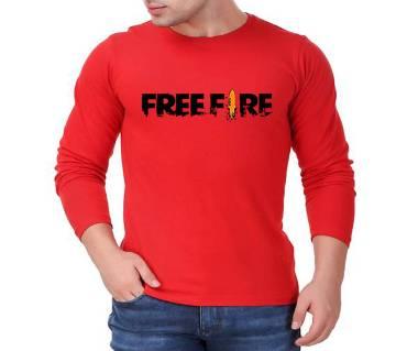 FreeFire মেনজ ফুল স্লিভ টি-শার্ট - Red
