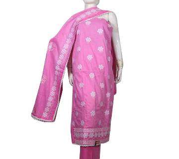 Unstitched Cotton Insaf three piece with quality embroidery work
