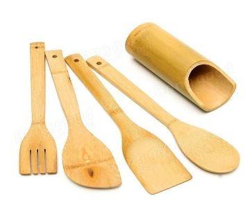 5PCS Bamboo Wooden Kitchen Utensil Spatula Scoop Spoon Set
