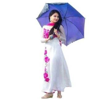 Unstiched block print cotton white & rose 3pc