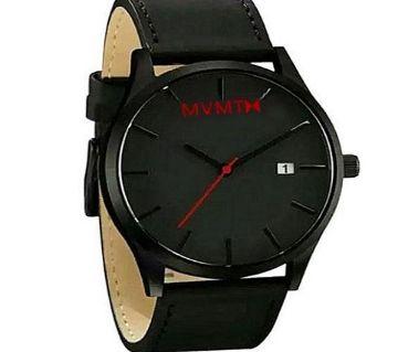 WD02 PU Leather Analog Wrist Watch For Men - Black - SKA