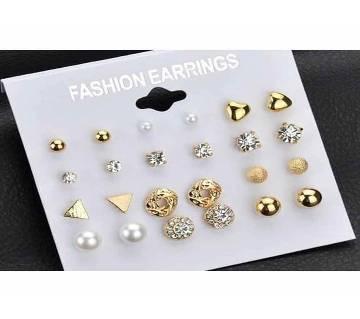 Golden Earring For Women- 12 Pair Pack Sets