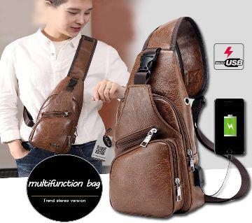 Unisex Crossbody Backpack-Brown