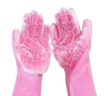 Original Silicon Kitchen Hand Gloves - Pink