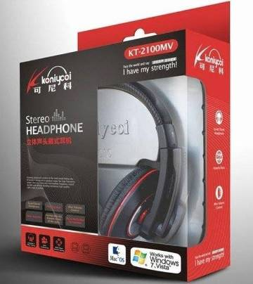 Koniycoi KT-2100MV Stereo Headphones with Mic-Black